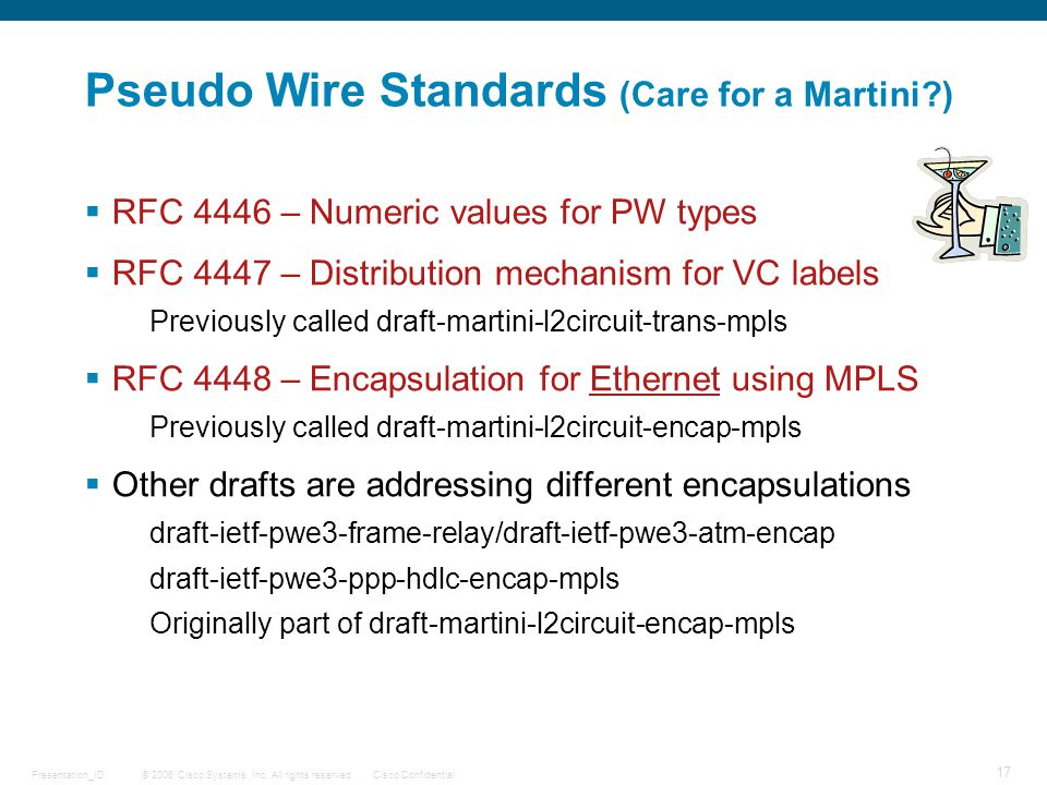 Pseudo Wire Standards (Care for a Martini )