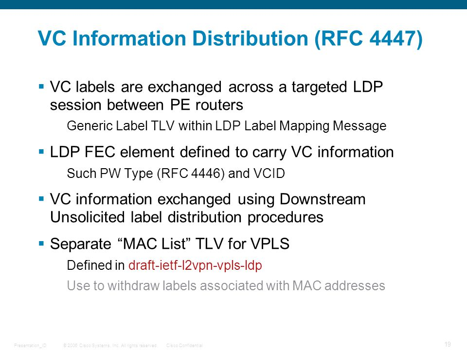 VC Information Distribution (RFC 4447)