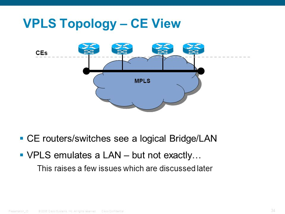 VPLS Topology – CE View CE routers/switches see a logical Bridge/LAN