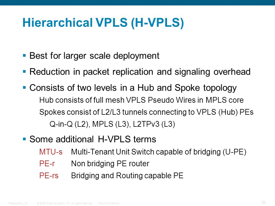 Hierarchical VPLS (H-VPLS)