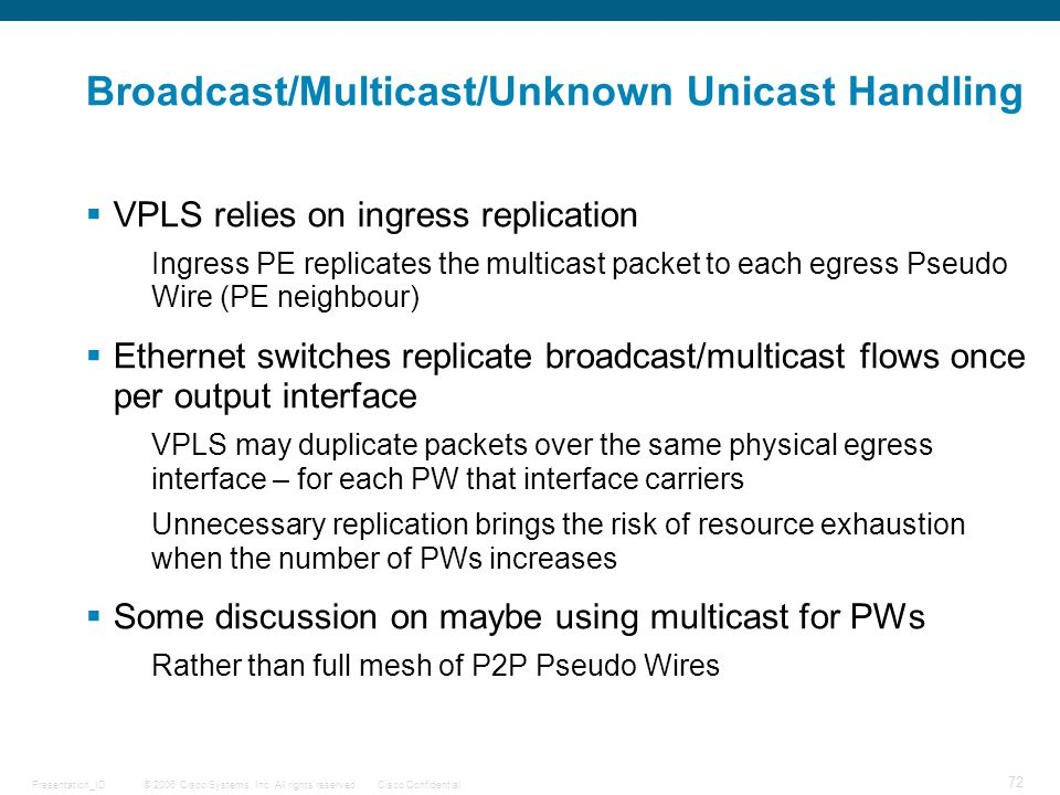 Broadcast/Multicast/Unknown Unicast Handling