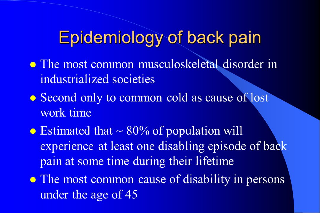 Epidemiology of back pain