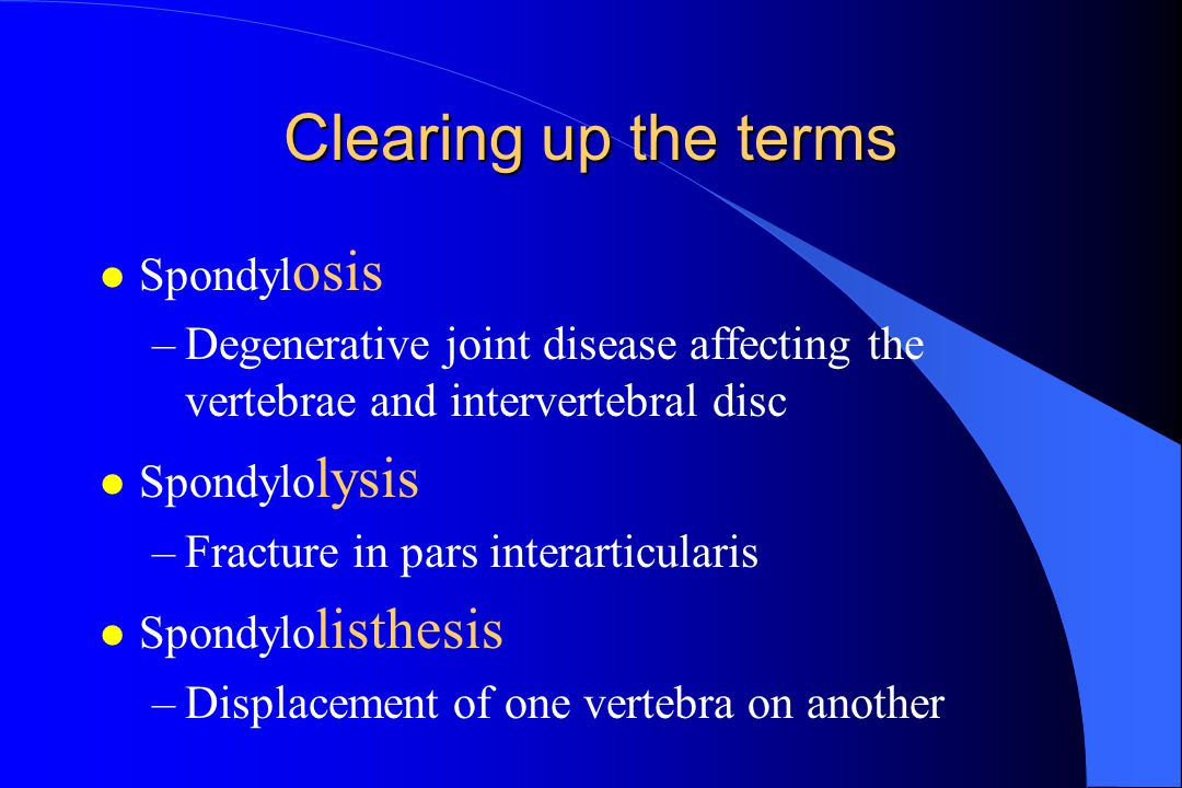 Clearing up the terms Spondylosis