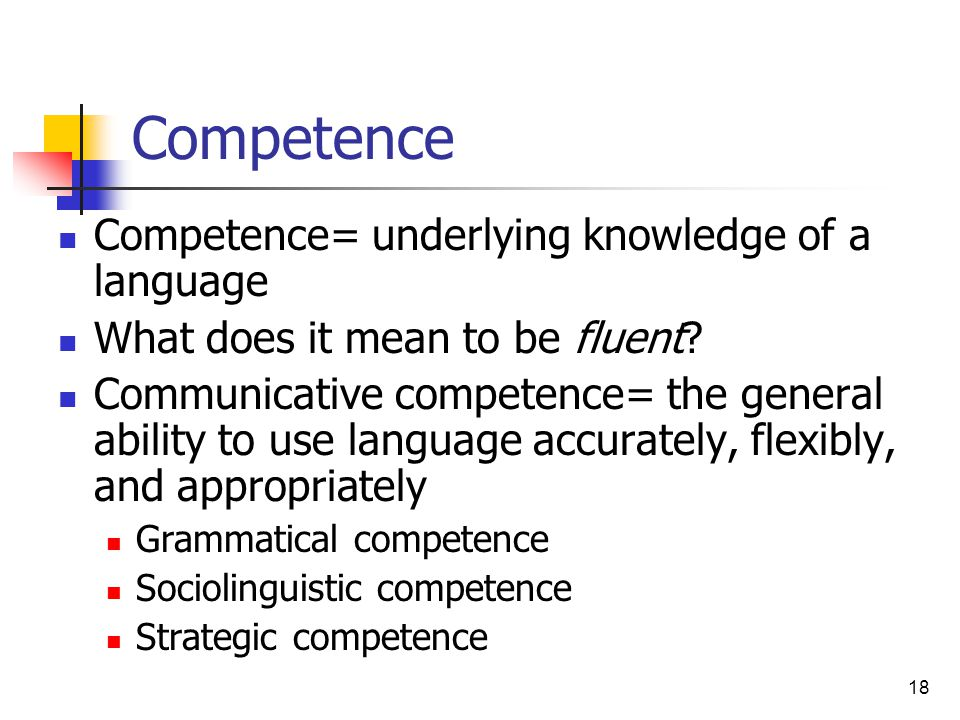 Competence Competence= underlying knowledge of a language