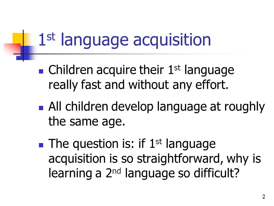 role of age on second language acquisition Tesl 710 chapter 2 notes reading, writing, and learning in esl 6th ed by equipped with biological lad, child plays major role in acquisition interactionist perspective- important role in the influence of age on second language acquisition stems from the complex interplay of.