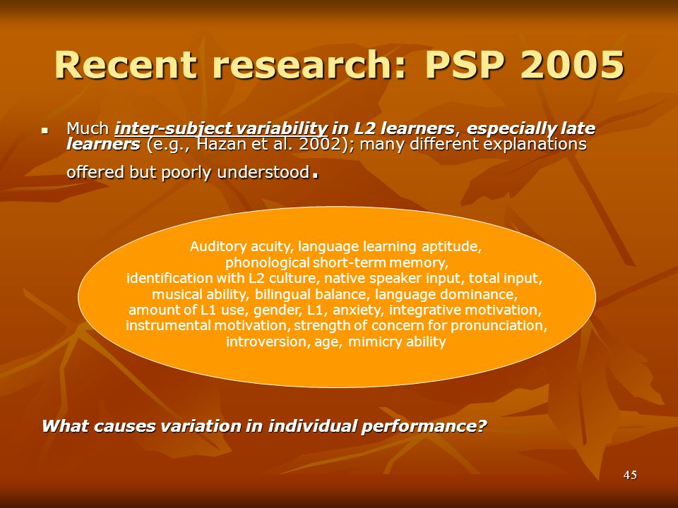Recent research: PSP 2005