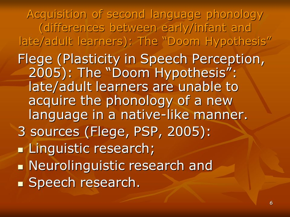 Neurolinguistic research and Speech research.
