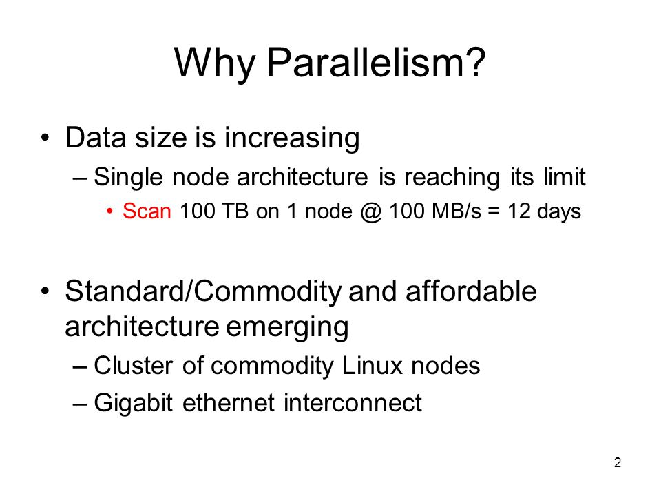 Why Parallelism Data size is increasing