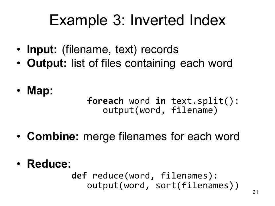 Example 3: Inverted Index
