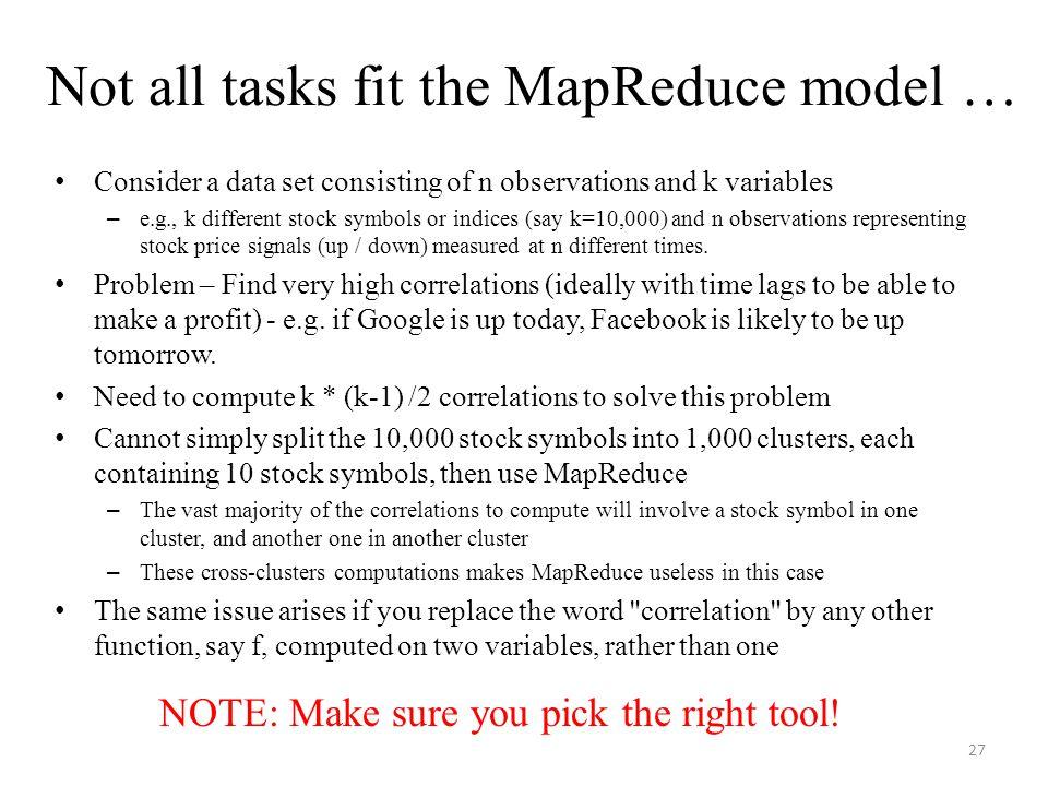 Not all tasks fit the MapReduce model …