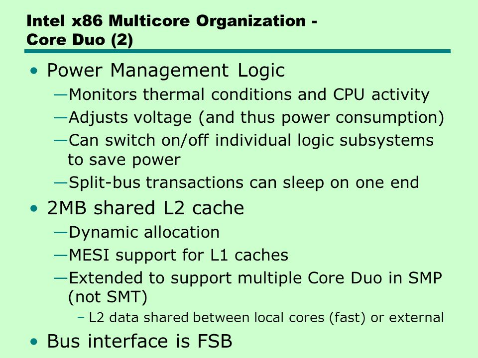 Intel x86 Multicore Organization - Core Duo (2)