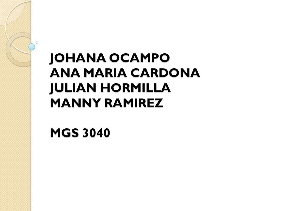 JOHANA OCAMPO ANA MARIA CARDONA JULIAN HORMILLA MANNY RAMIREZ MGS 3040