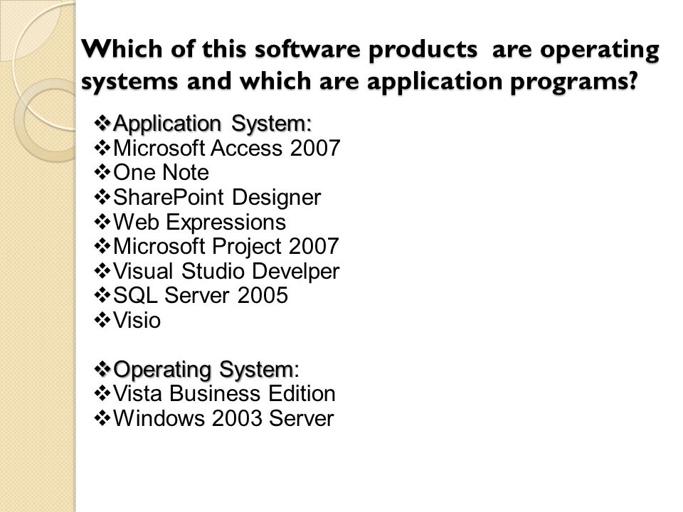 Which of this software products are operating systems and which are application programs