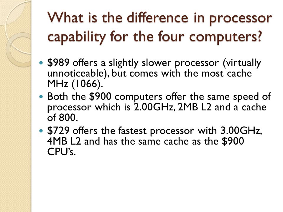 What is the difference in processor capability for the four computers