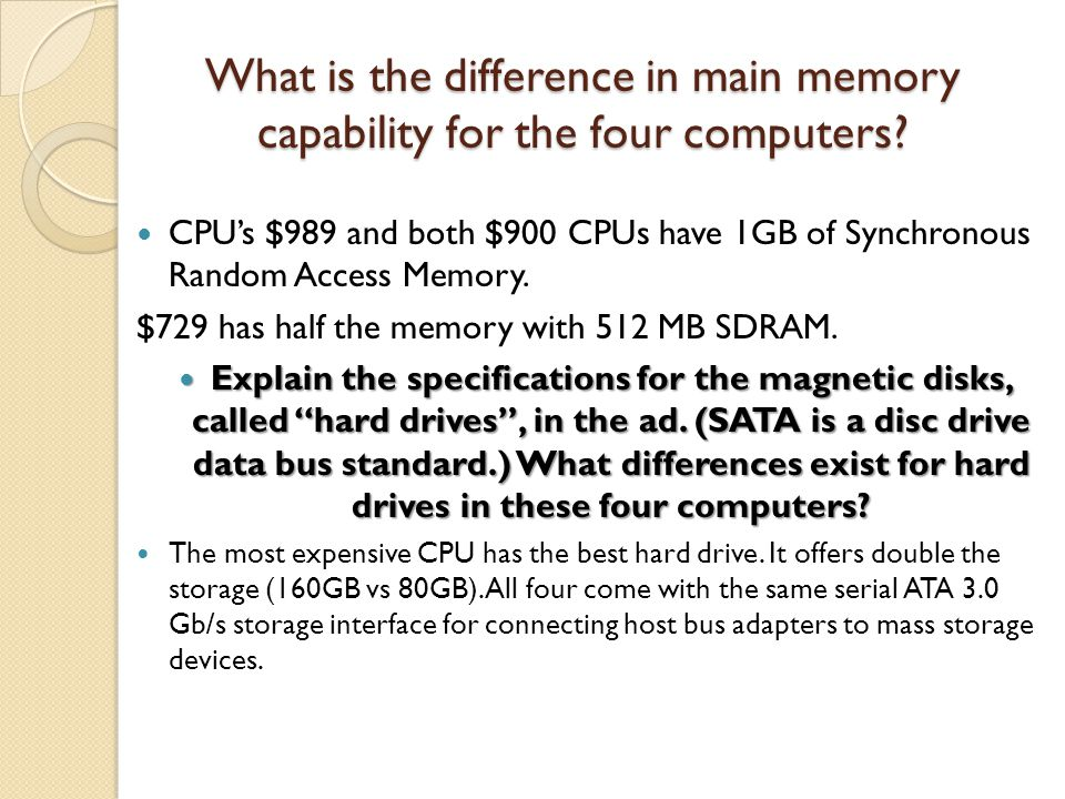 What is the difference in main memory capability for the four computers