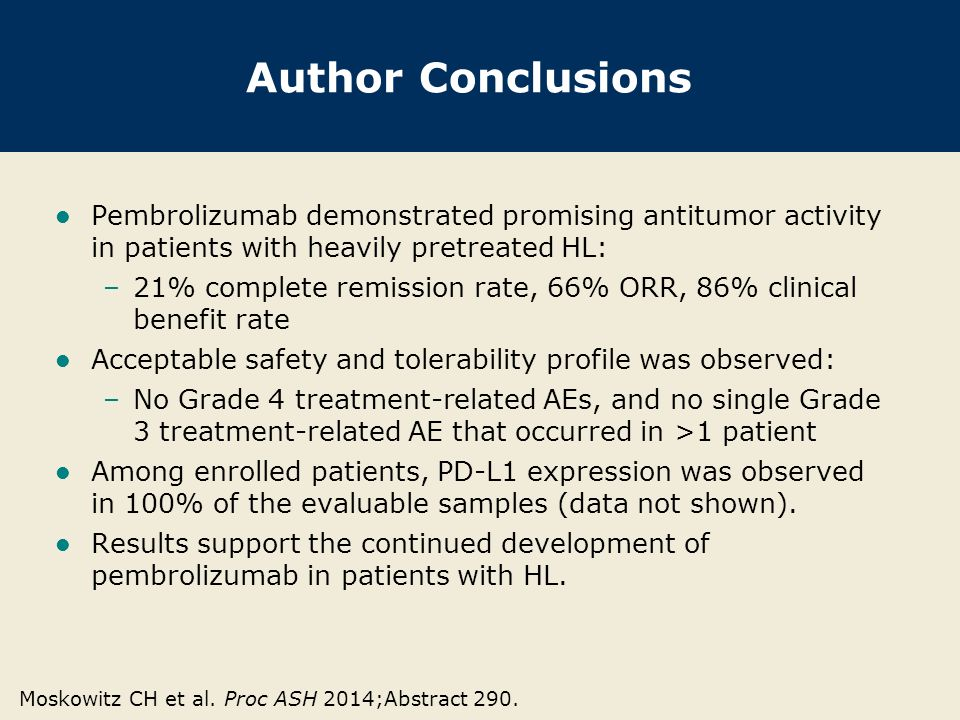 Author Conclusions Pembrolizumab demonstrated promising antitumor activity in patients with heavily pretreated HL: