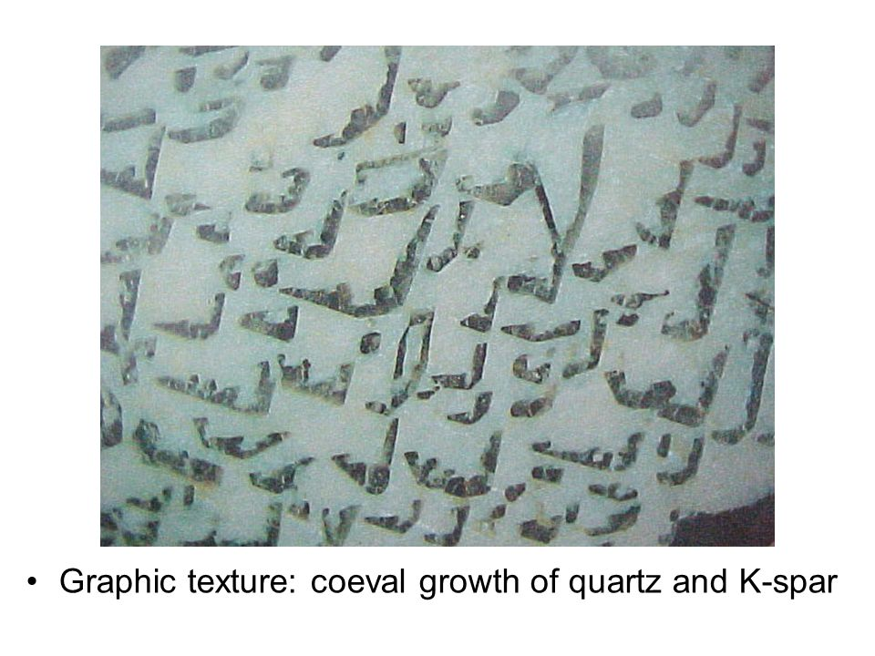 Graphic texture: coeval growth of quartz and K-spar