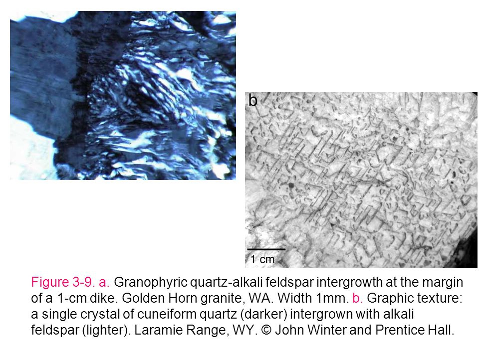 Figure 3-9. a. Granophyric quartz-alkali feldspar intergrowth at the margin of a 1-cm dike.