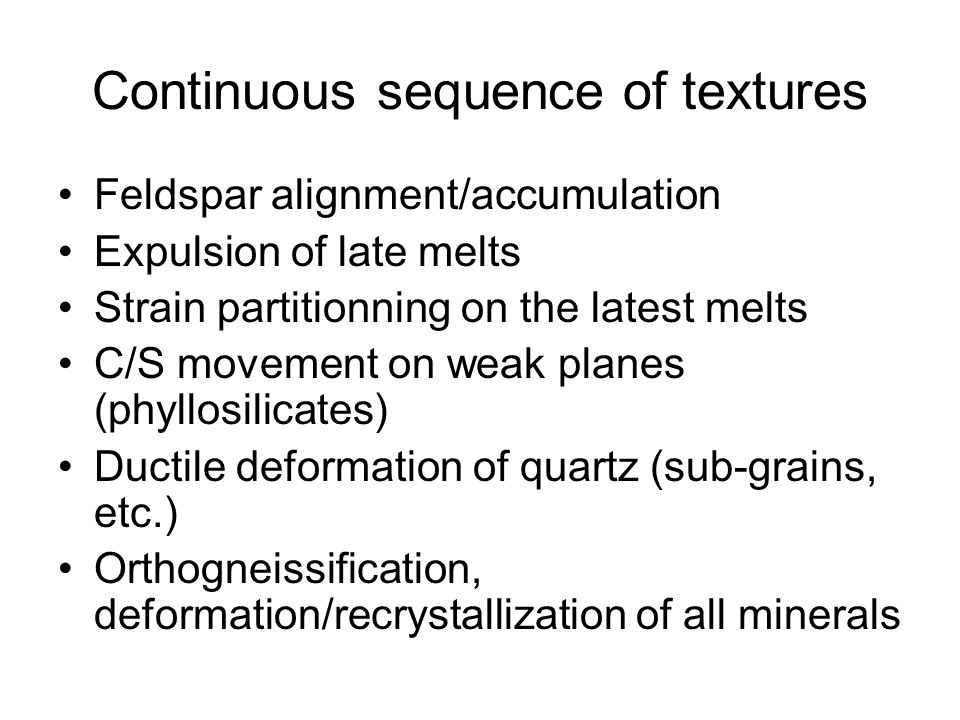 Continuous sequence of textures