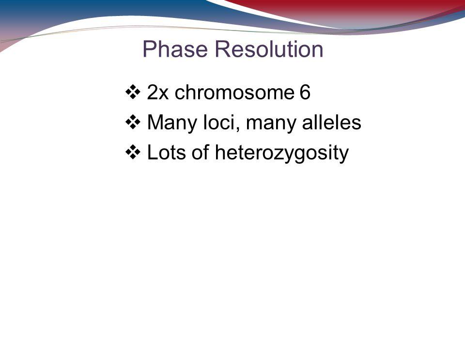 Phase Resolution 2x chromosome 6 Many loci, many alleles