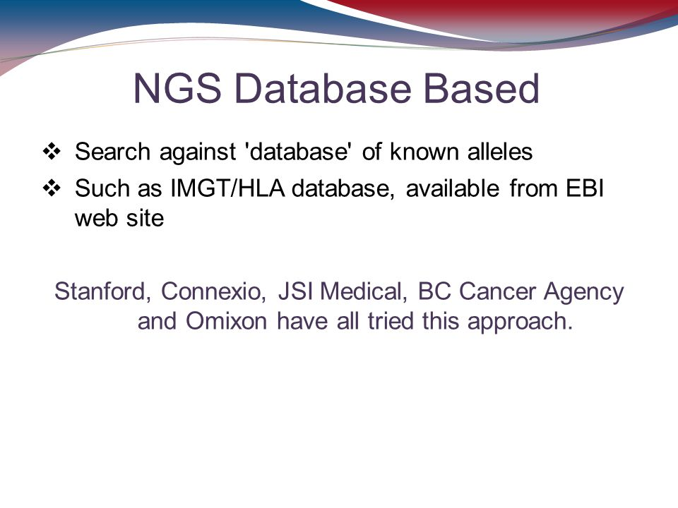 NGS Database Based Search against database of known alleles