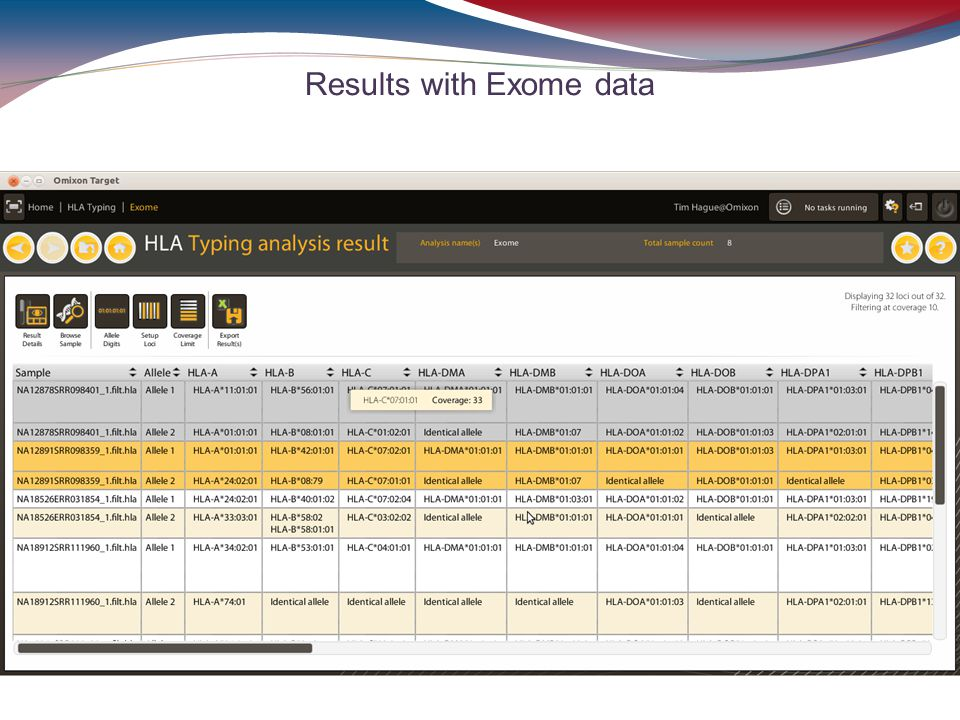 Results with Exome data