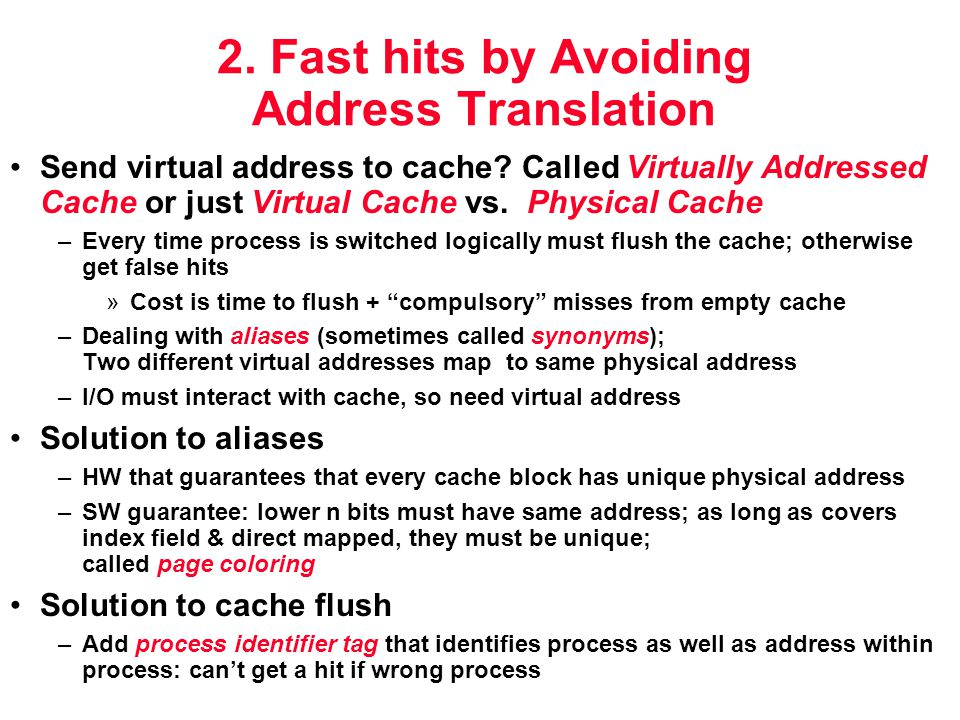 2. Fast hits by Avoiding Address Translation