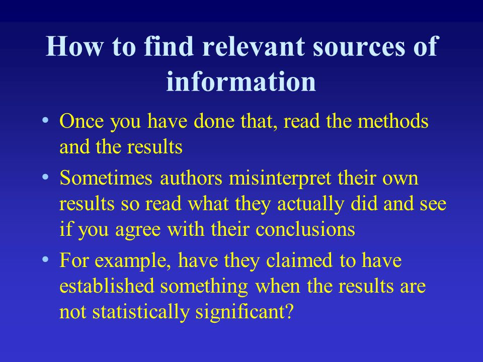 How to find relevant sources of information