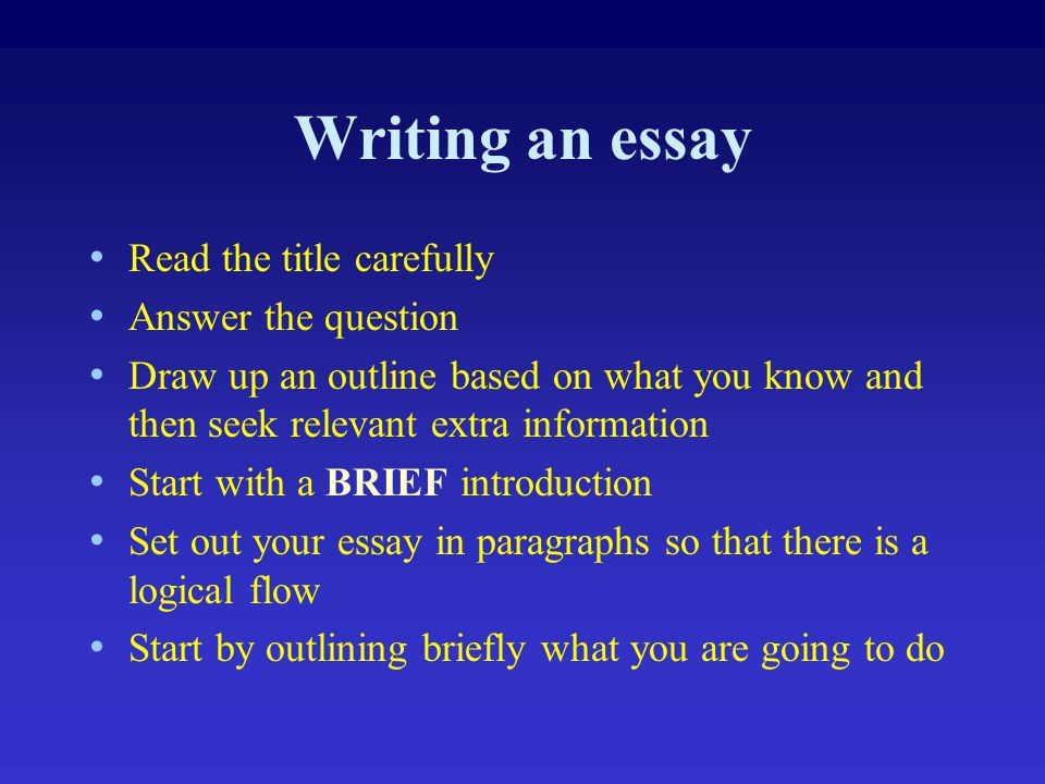 Writing an essay Read the title carefully Answer the question