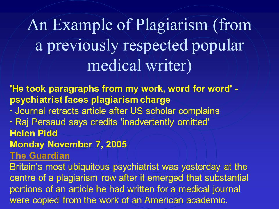 An Example of Plagiarism (from a previously respected popular medical writer)