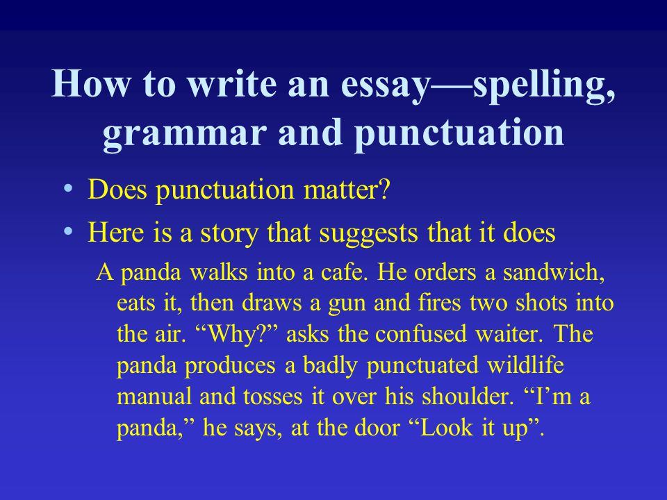 How to write an essay—spelling, grammar and punctuation