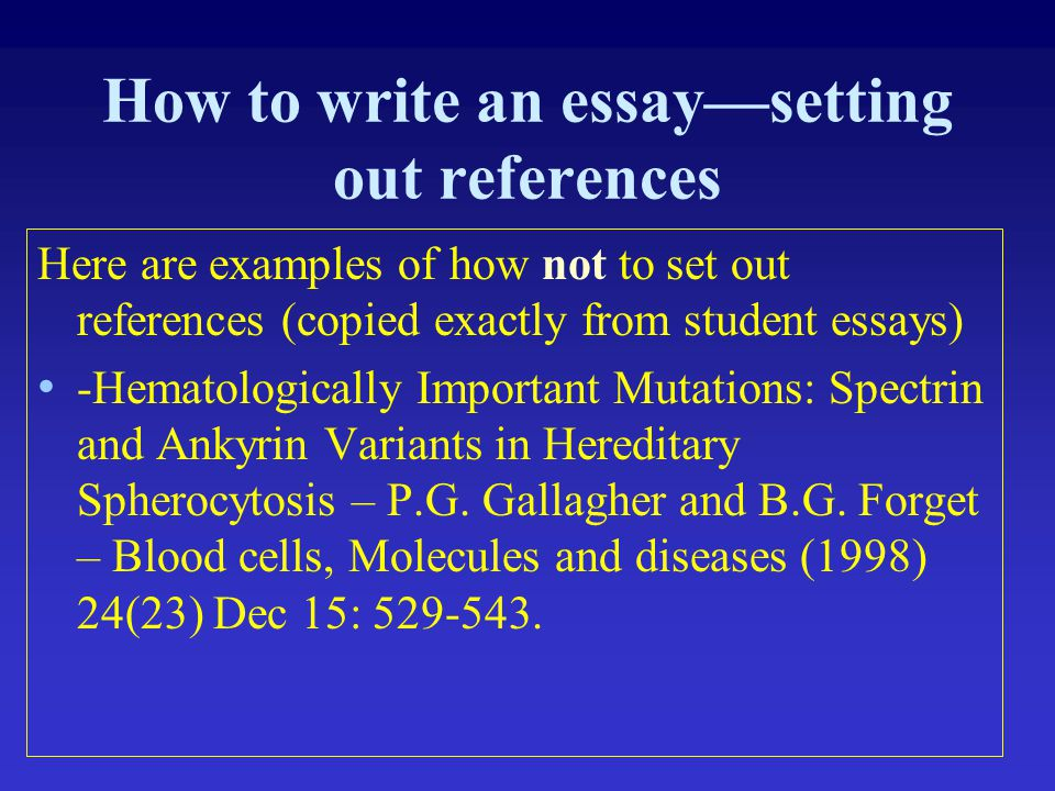 How to write an essay—setting out references