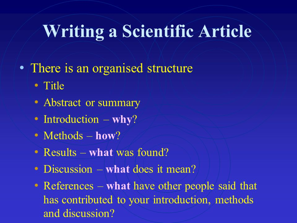 Writing a Scientific Article