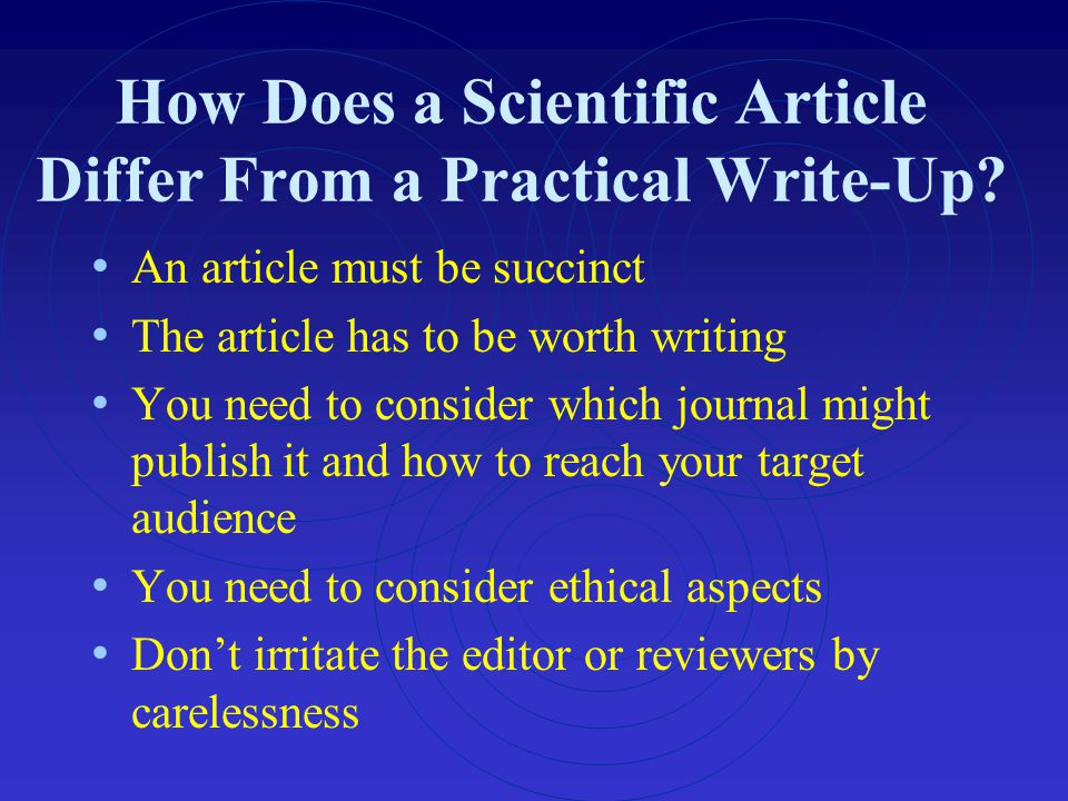 How Does a Scientific Article Differ From a Practical Write-Up