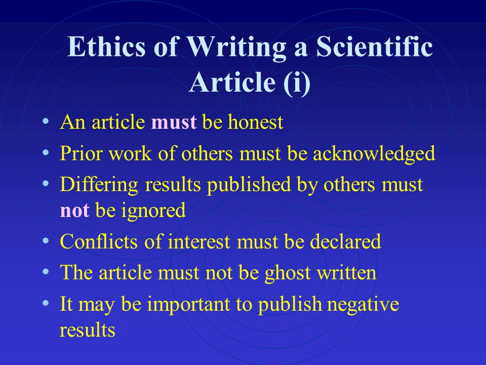 Ethics of Writing a Scientific Article (i)