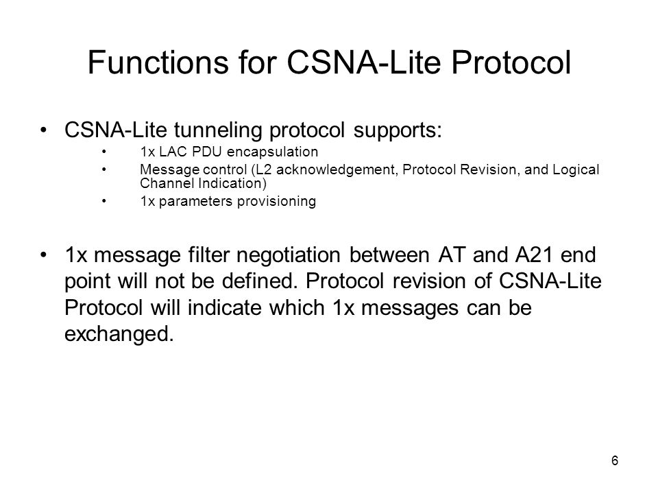 Functions for CSNA-Lite Protocol