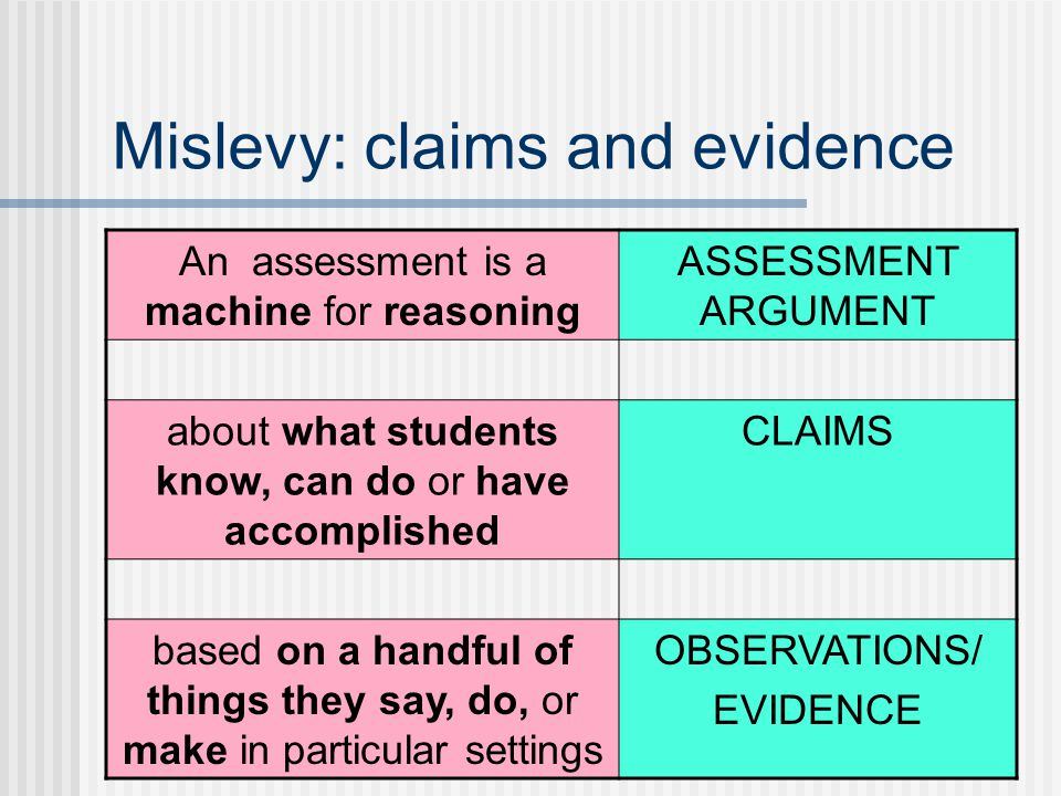 Mislevy: claims and evidence