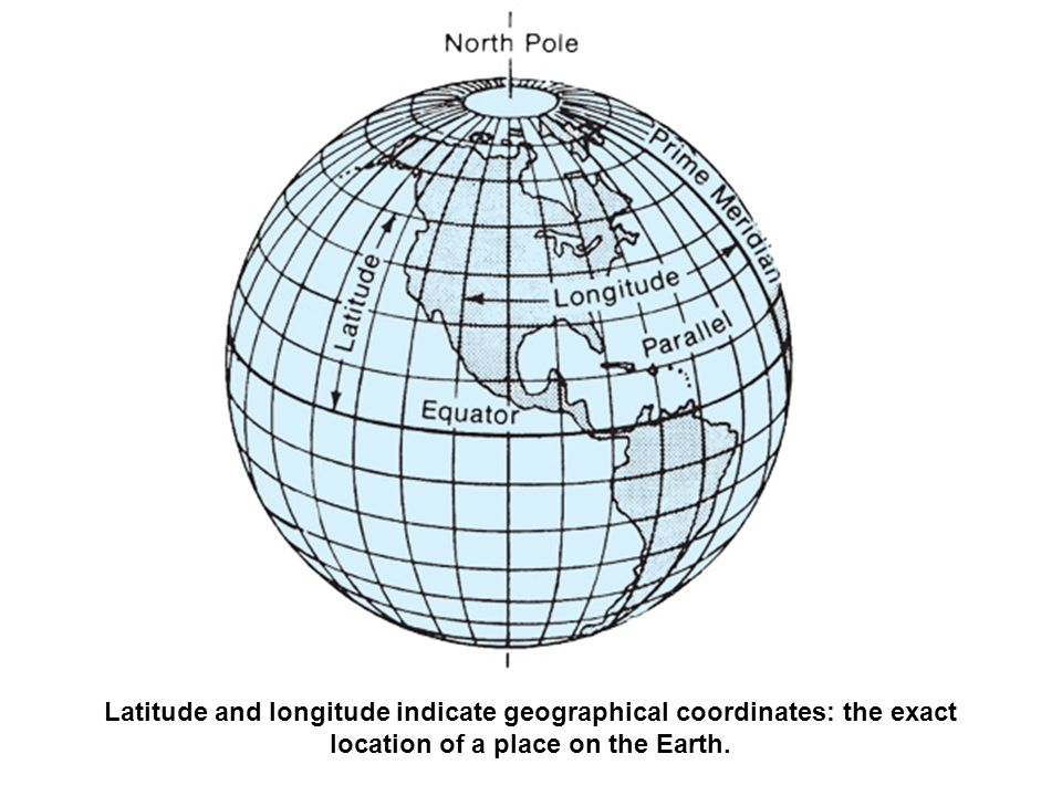 Latitude and longitude indicate geographical coordinates: the exact location of a place on the Earth.