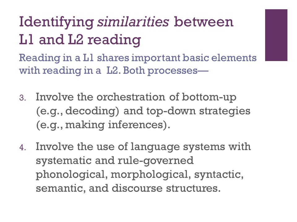 Identifying similarities between L1 and L2 reading