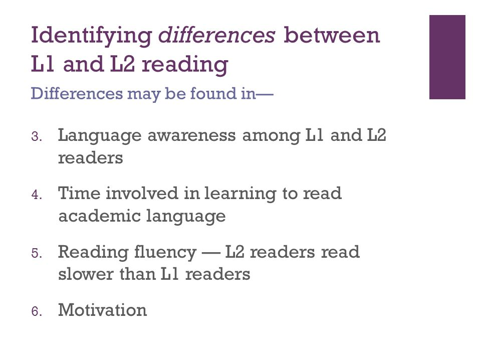 Identifying differences between L1 and L2 reading