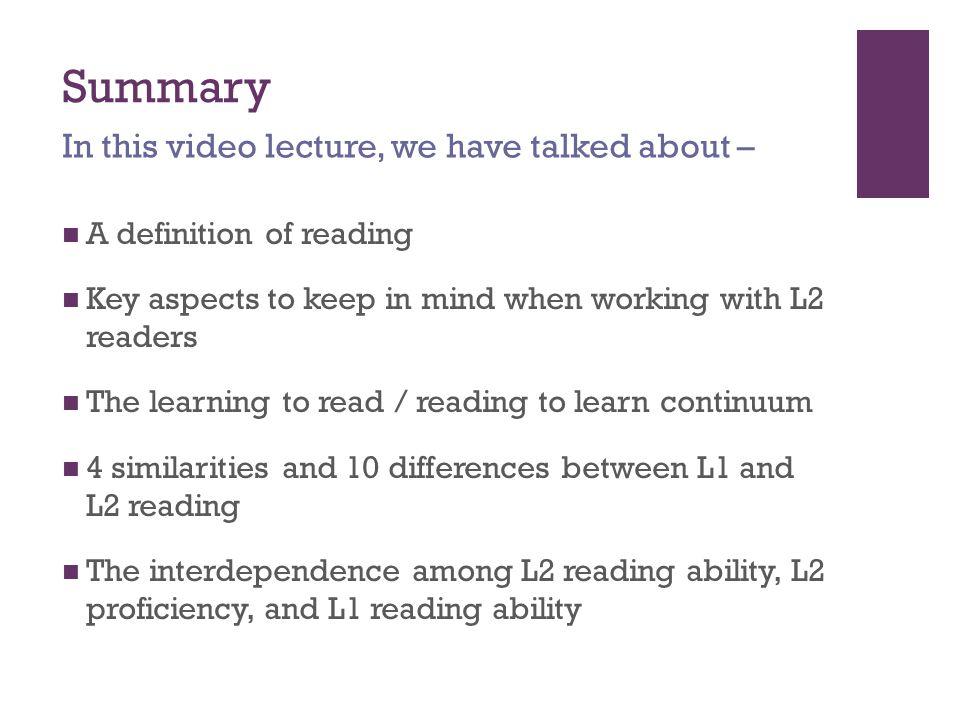 Summary In this video lecture, we have talked about –