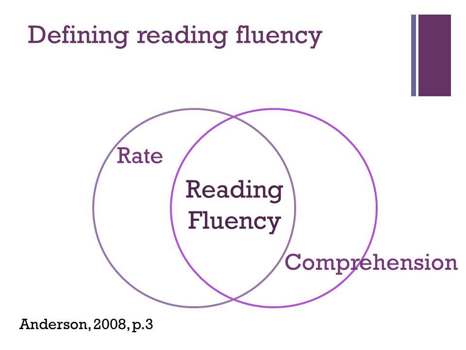 Defining reading fluency
