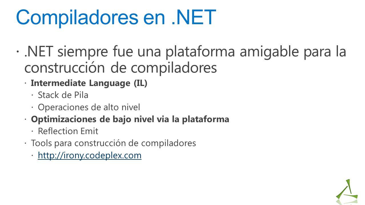 Compiladores en .NET .NET siempre fue una plataforma amigable para la construcción de compiladores.