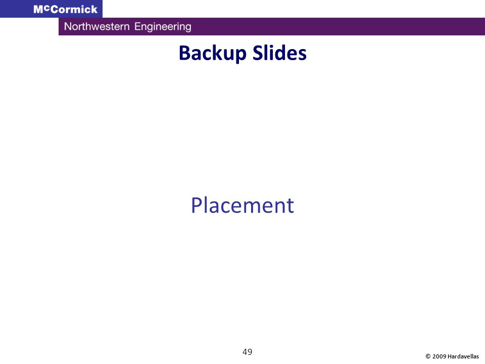 Backup Slides Placement © 2009 Hardavellas