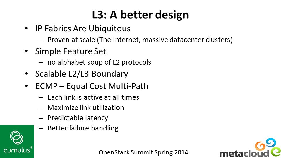 L3: A better design IP Fabrics Are Ubiquitous Simple Feature Set