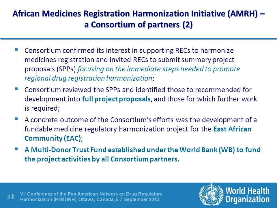African Medicines Registration Harmonization Initiative (AMRH) – a Consortium of partners (2)