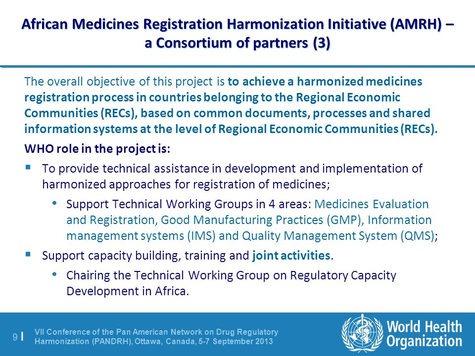 African Medicines Registration Harmonization Initiative (AMRH) – a Consortium of partners (3)