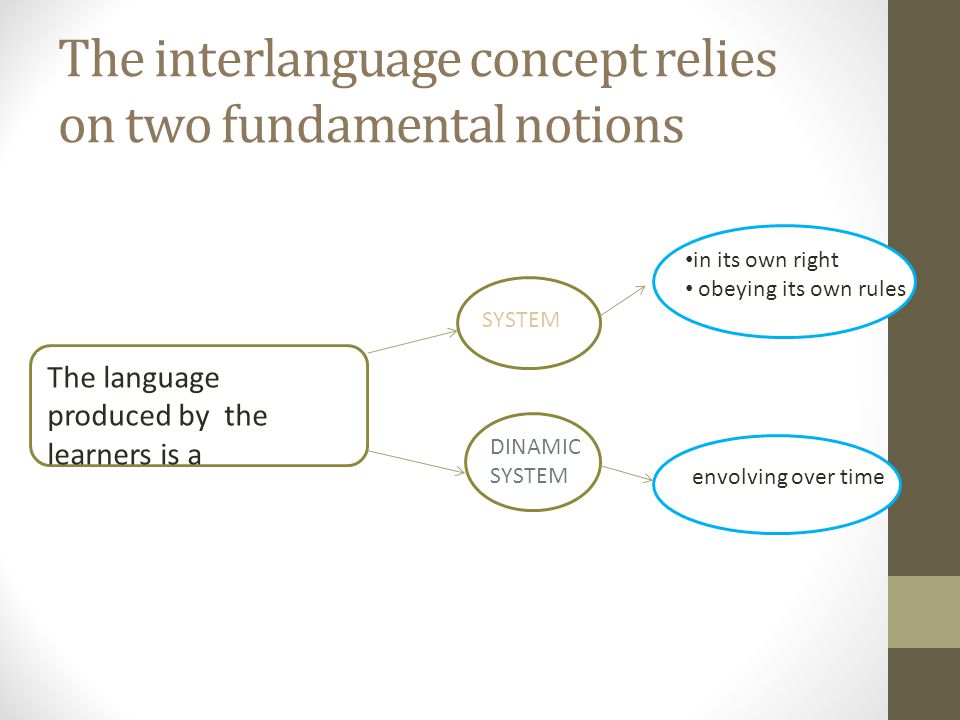 The interlanguage concept relies on two fundamental notions