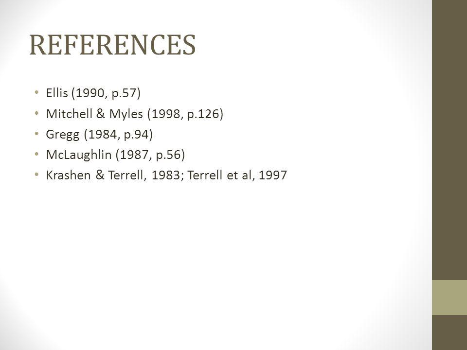 REFERENCES Ellis (1990, p.57) Mitchell & Myles (1998, p.126)