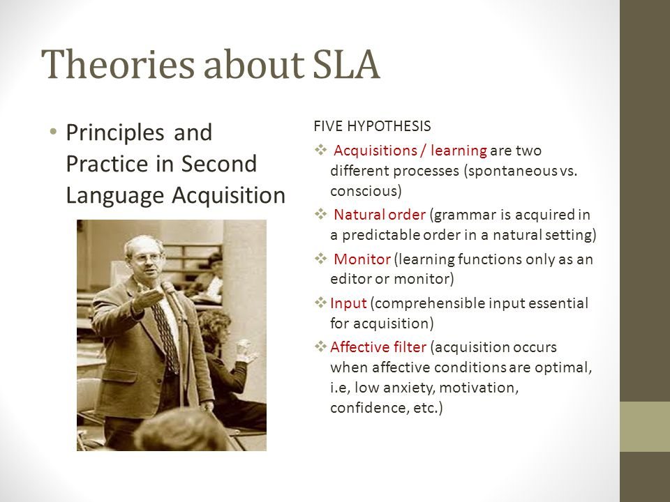Theories about SLA Principles and Practice in Second Language Acquisition. FIVE HYPOTHESIS.